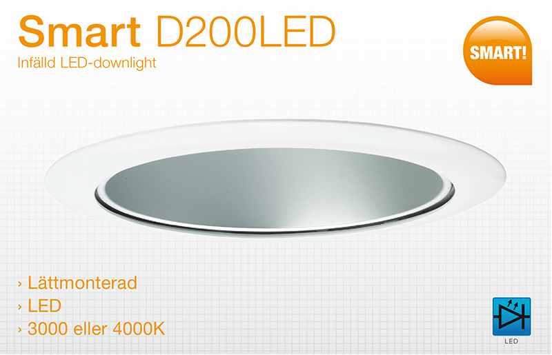 Smart D200LED – Lättmonterad downlight i 3000 eller 4000 K