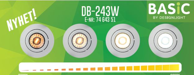 DB-243 nyhet från Designlight med dimbar färgtemperatur