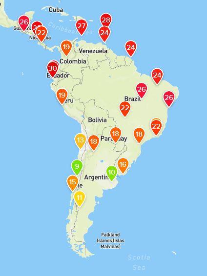 Smart väderstation visar vädret hemma eller på Hawaii